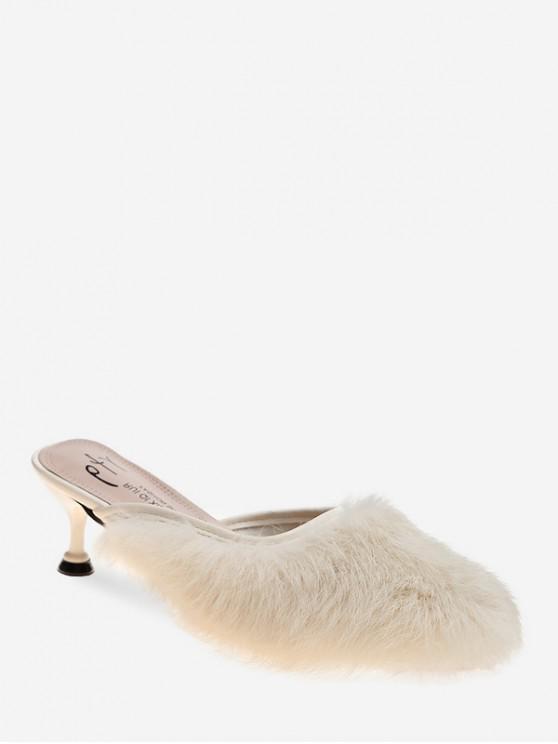 hot Faux Fur Pointed Toe Heeled Pumps - WHITE EU 39