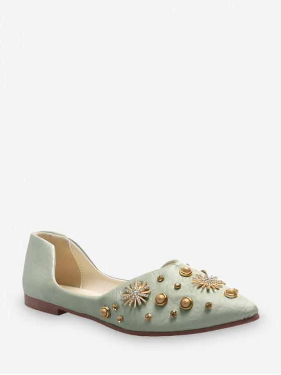 fancy Snowflake Studded Pointed Toe Two Piece Flats - DARK SEA GREEN EU 39