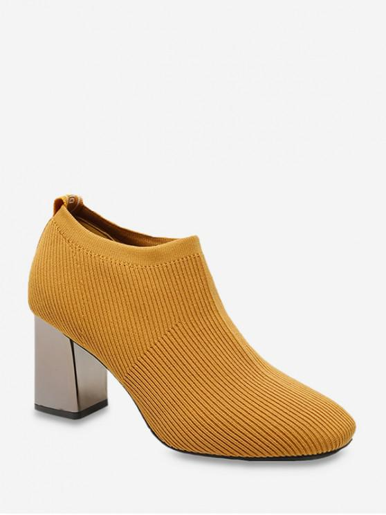 chic Chunky Heel Striped Letter Ankle Boots - SANDY BROWN EU 35