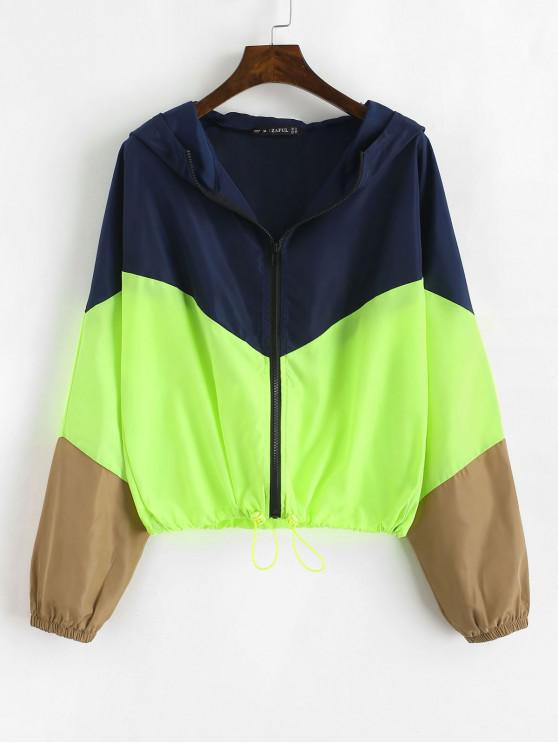 outfit ZAFUL Zip Up Neon Color Block Windbreaker Jacket - MULTI L
