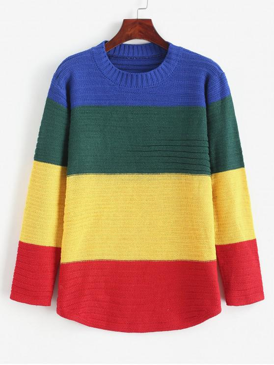 shop Curved Hem Rainbow Color Block Pullover Sweater - MULTI ONE SIZE