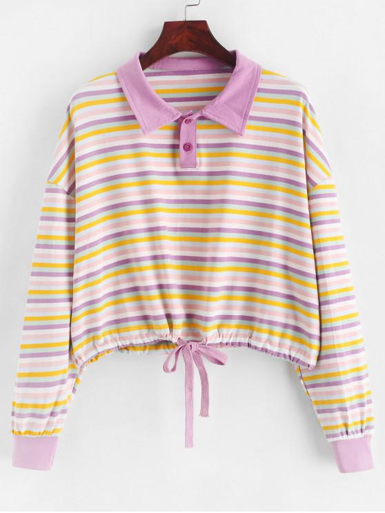 shops Two Buttoned Drop Shoulder Rainbow Stripes Sweatshirt - MULTI-A ONE SIZE