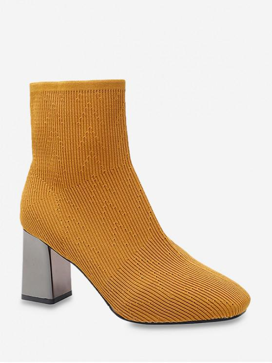 trendy Metallic Chunky Heel Sock Short Boots - YELLOW EU 36