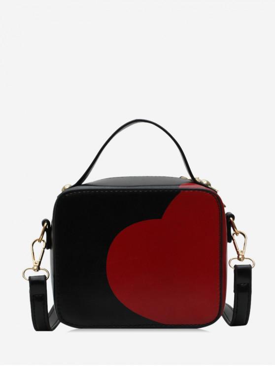 fancy PU Heart Print Rectangle Shoulder Bag - BLACK