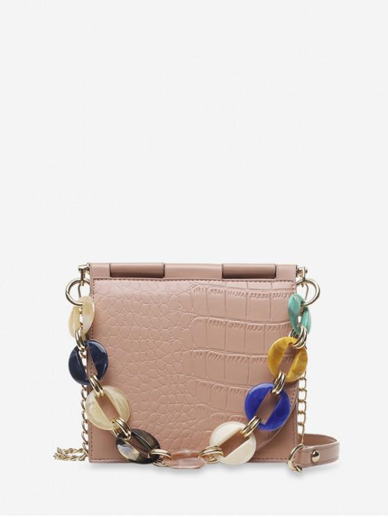 affordable Animal Embossed Chain Embellished Crossbody Bag - ROSE