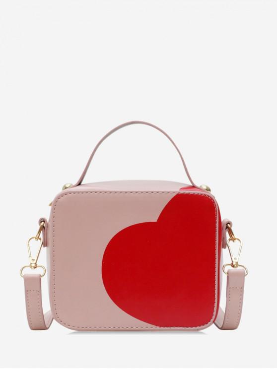 buy PU Heart Print Rectangle Shoulder Bag - ROSE