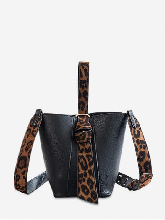 chic Leopard Trim Wide Strap Crossbody Bag - BLACK