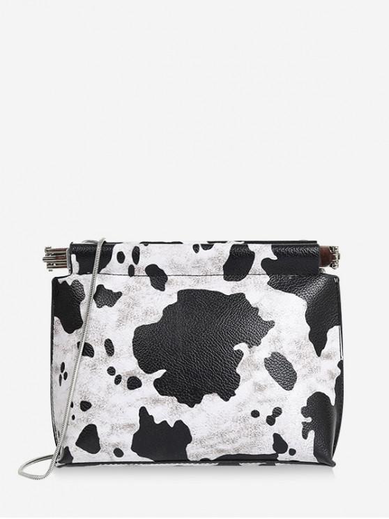 กระเป๋าสะพายโซ่ลายวัว - สีดำ