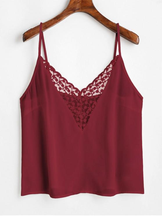 ladies ZAFUL Flower Embroidered Lace Insert Plain Camisole - RED WINE M
