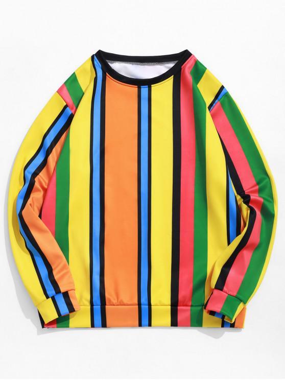 Sweat-shirt Décontracté Panneau en Blocs de Couleurs Imprimé à Rayure Latérale - Multi-B 3XL