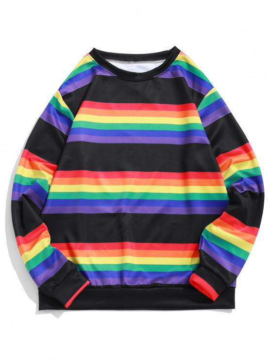 buy Rainbow Striped Print Round Neck Casual Sweatshirt - BLACK S