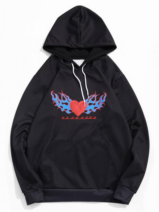 shop Heart Flame Pattern Print Pullover Kangaroo Pocket Hoodie - BLACK L