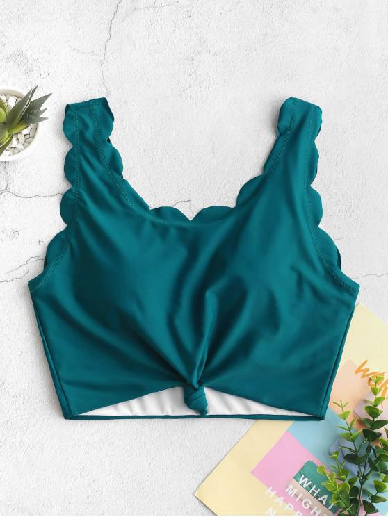 buy ZAFUL Knot Scalloped Cropped Bikini Top - PEACOCK BLUE M