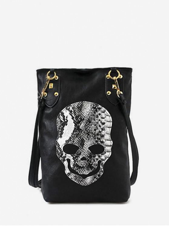 women's Skull Print Casual Shoulder Bag - BLACK