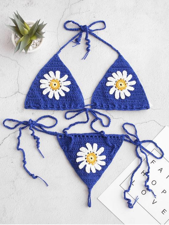 trendy Halter Floral Crochet String Bikini Swimsuit - OCEAN BLUE S