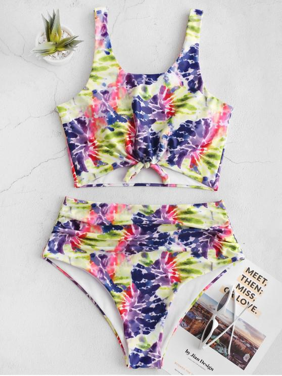 women's ZAFUL Tie Dye Knotted Ruched Tankini Swimsuit - MULTI-A L