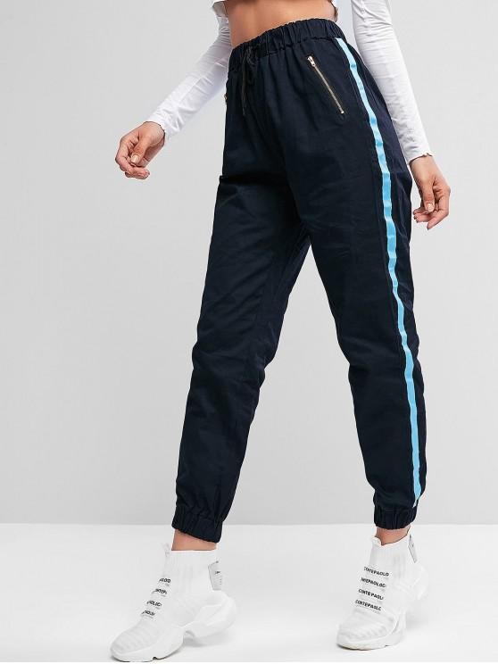 ladies Zippers Side Striped Patched Jogger Pants - MIDNIGHT BLUE XL