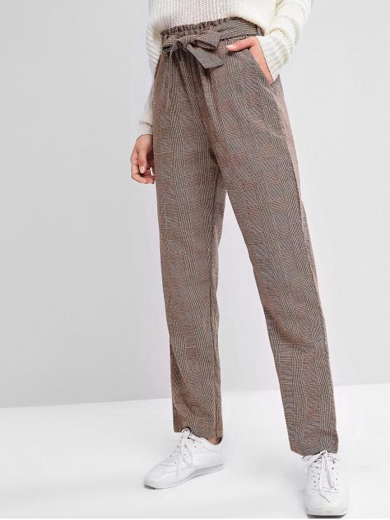 shop ZAFUL Paperbag Waist Pocket Tweed Pants - COFFEE S