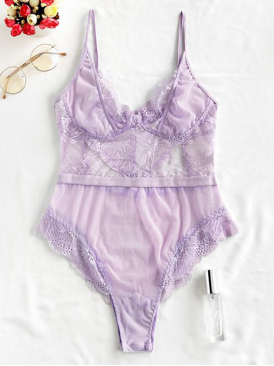 womens Lace High Waisted Mesh Scalloped Teddy - LAVENDER BLUE L