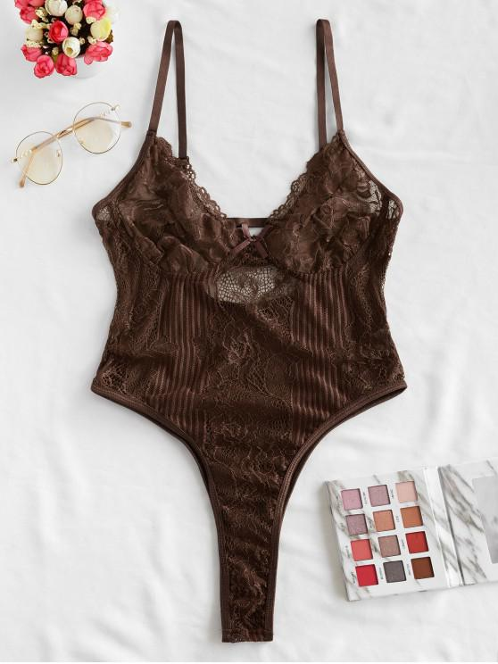 unique Bowknot Lace High Leg Lingerie Teddy - COFFEE L