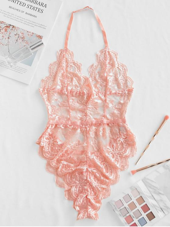 womens Halter Scalloped Lace Lingerie Teddy - PINK M