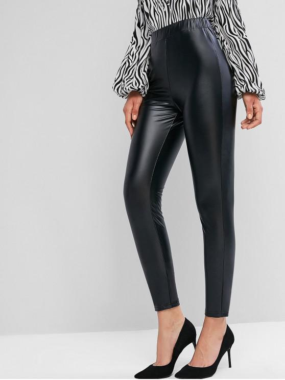 shops ZAFUL Faux Leather Leggings - BLACK S