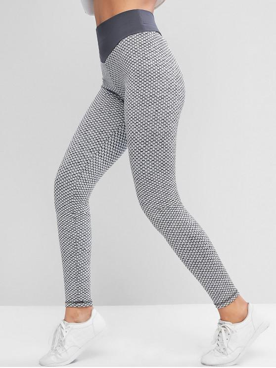 women's Active Honeycomb Knit Scrunch Butt Leggings - GRAY M