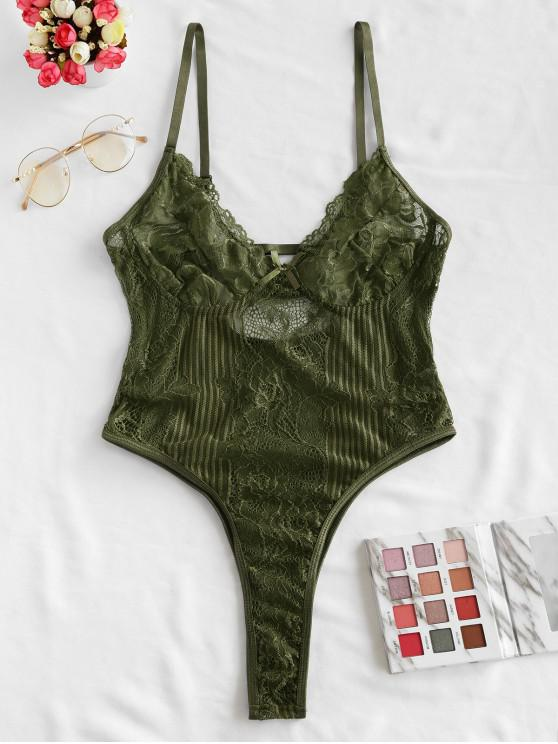 outfits Bowknot Lace High Leg Lingerie Teddy - ARMY GREEN S
