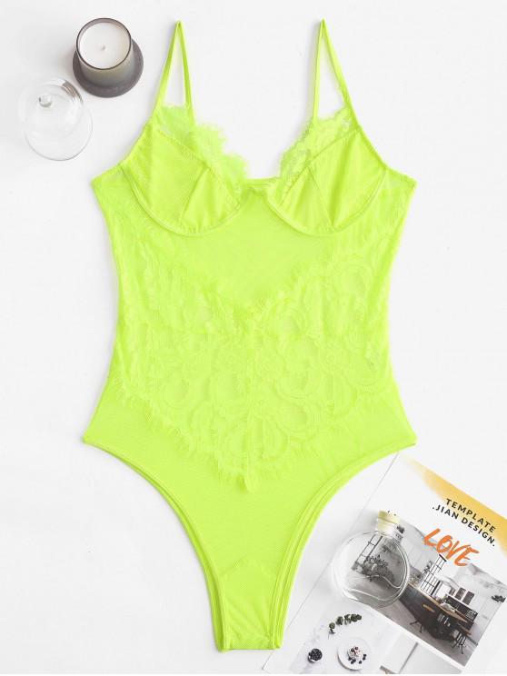 fashion Sheer Fishnet Lace Lingerie Teddy Bodysuit - TEA GREEN L