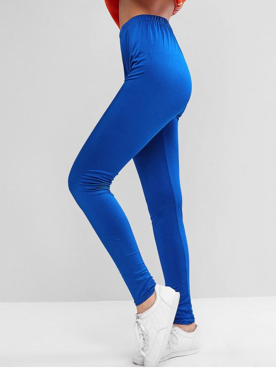 hot ZAFUL Sparkle Solid High Waisted Leggings - BLUEBERRY BLUE XL
