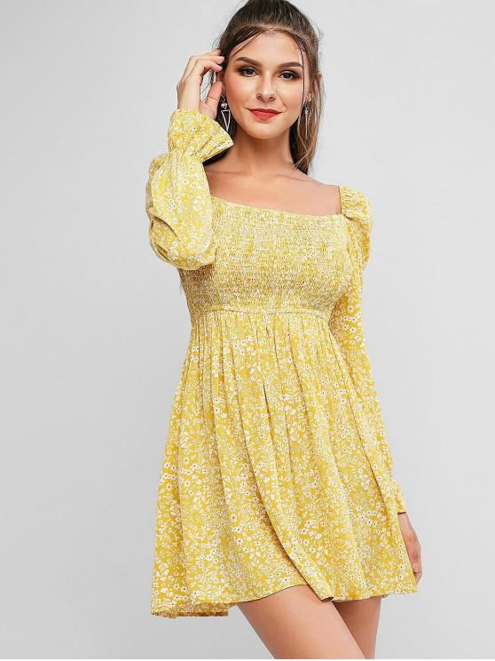 fashion ZAFUL Tiny Flower Poet Sleeve Shirred A Line Dress - CORN YELLOW M