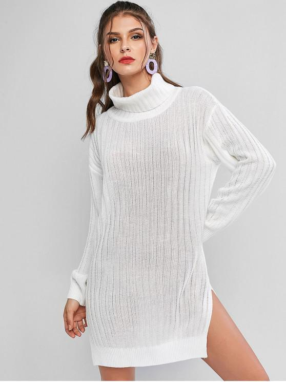 chic Turtleneck Slit Drop Shoulder Tunic Sweater Dress - WHITE M