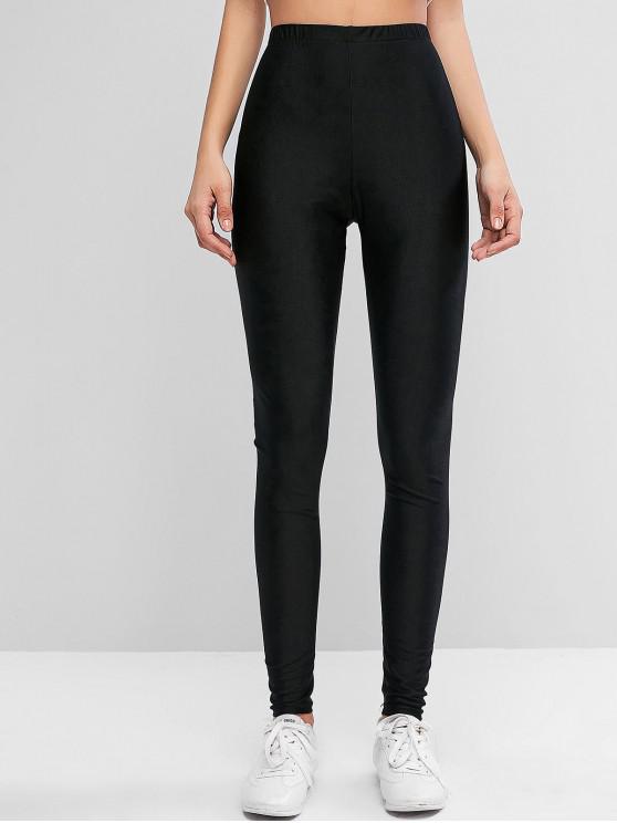 shops ZAFUL Sparkle Solid High Waisted Leggings - BLACK L