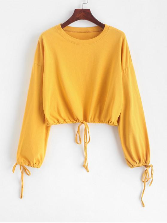 outfit Drop Shoulder Drawstring Cropped Sweatshirt - BRIGHT YELLOW ONE SIZE
