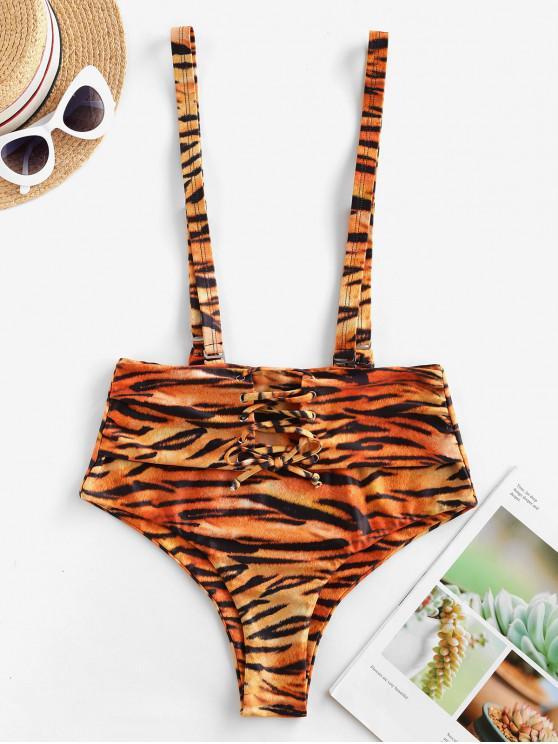 womens ZAFUL Tiger Print Lace Up Suspender Bikini Bottom - MULTI-A L