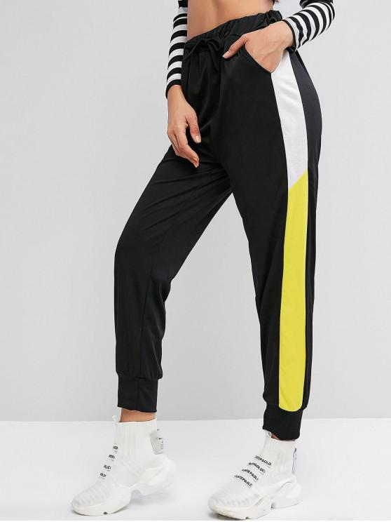 women's Color Block Drawstring Pocket Jogger Pants - BLACK M