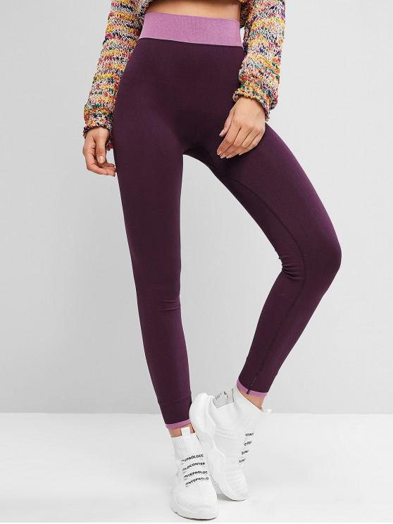 lady Color Block Textured High Waisted Leggings - DULL PURPLE S
