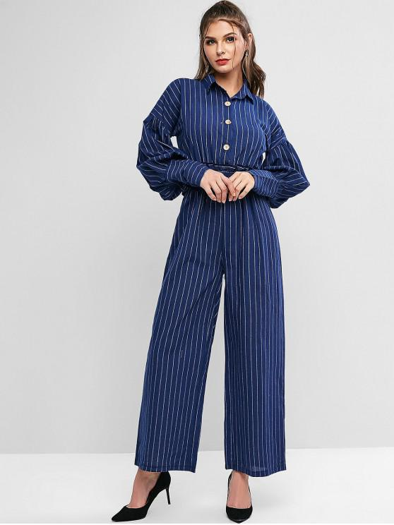 fancy Striped Smocked Waist Drop Waist Maxi Jumpsuit - MIDNIGHT BLUE M