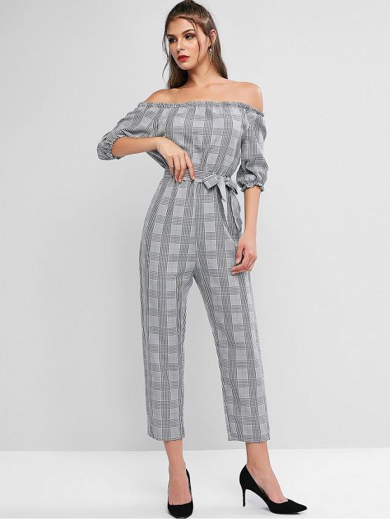 fashion Off Shoulder Plaid Belted Jumpsuit - GRAY CLOUD L