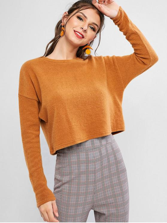 sale ZAFUL Boxy Cropped Sweater - TIGER ORANGE L