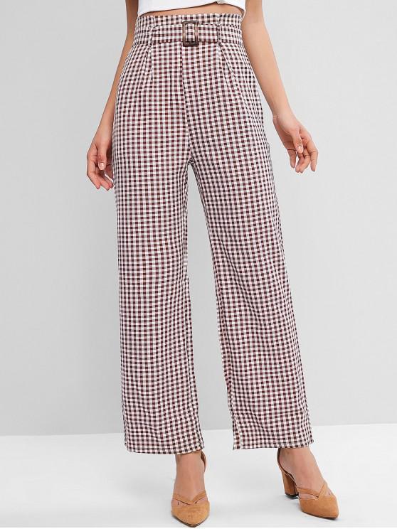 women's Plaid Belted Wide Leg Pants - MULTI M