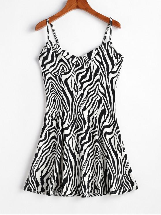 lady Zebra Print Cami Sleeveless Dress - MULTI-A L