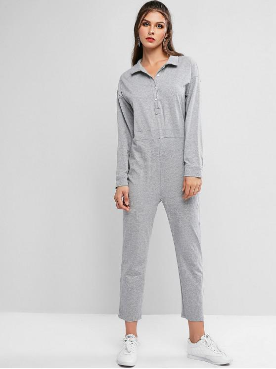 shops Button Front Pockets Straight Jumpsuit - GRAY CLOUD ONE SIZE