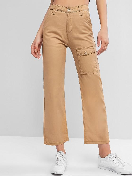 new Pockets Solid High Waist Straight Pants - LIGHT KHAKI XL