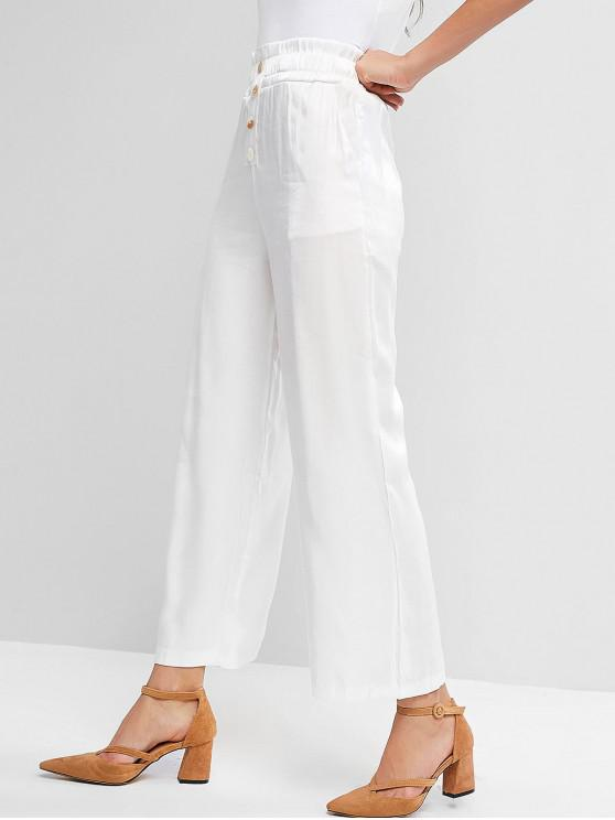 shop Buttoned Solid Wide Leg Paperbag Pants - WHITE XL
