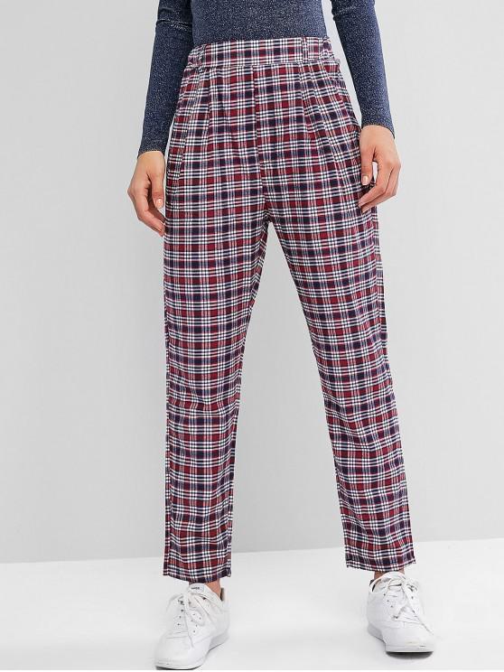 lady High Waisted Plaid Pockets Straight Pants - MULTI XL
