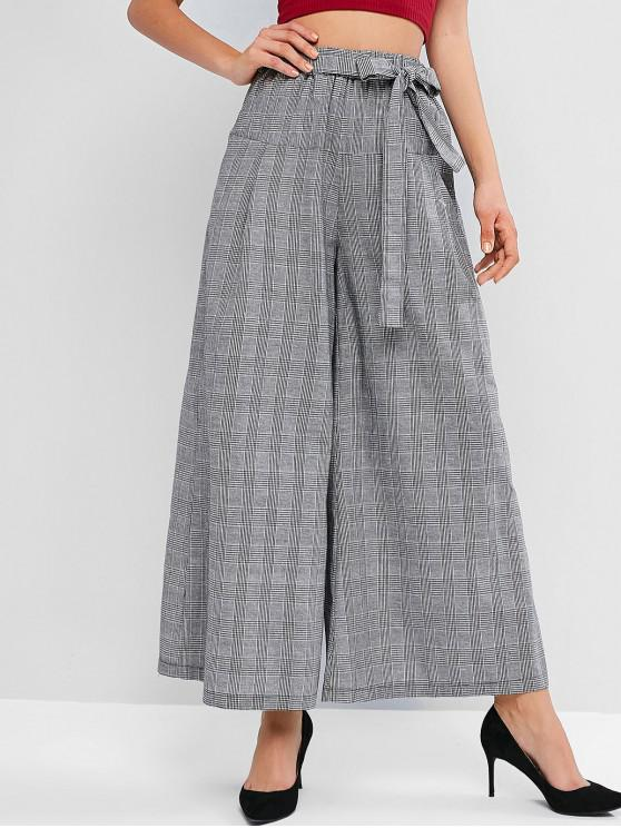 best Plaid High Rise Belted Wide Leg Culotte Pants - GRAY CLOUD S