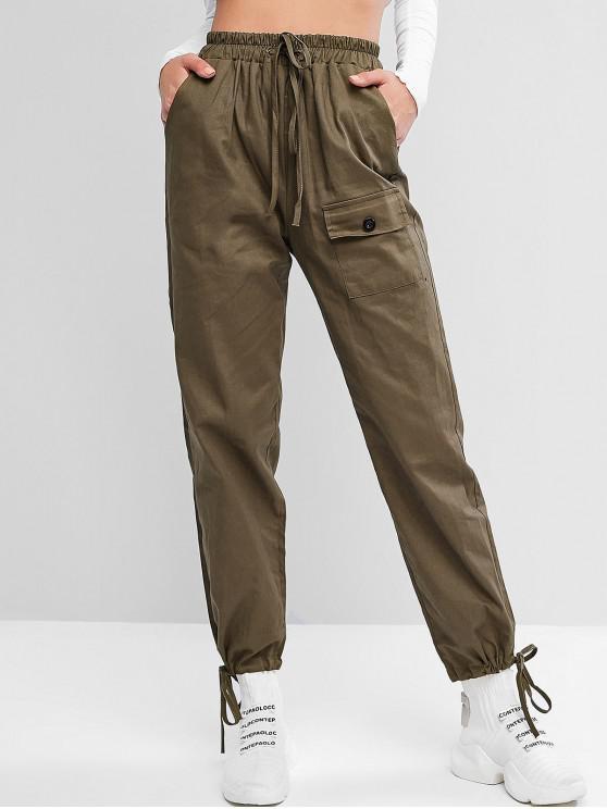 latest Pocket Drawstring Cuffs High Waisted Pants - HAZEL GREEN L