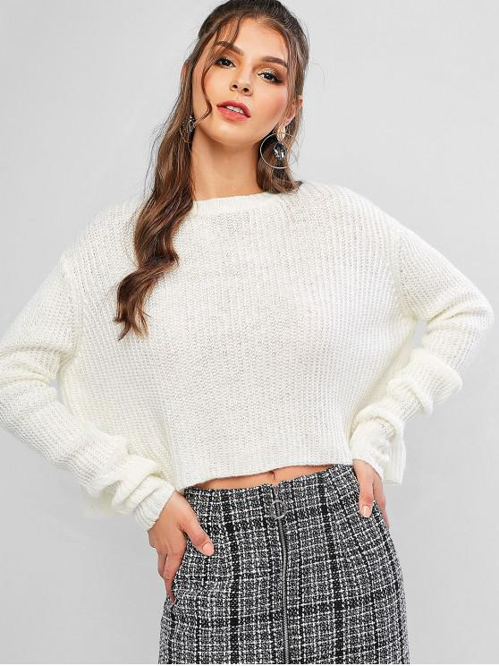 sale Plain Rib Knit Drop Shoulder Pullover Sweater - MILK WHITE S