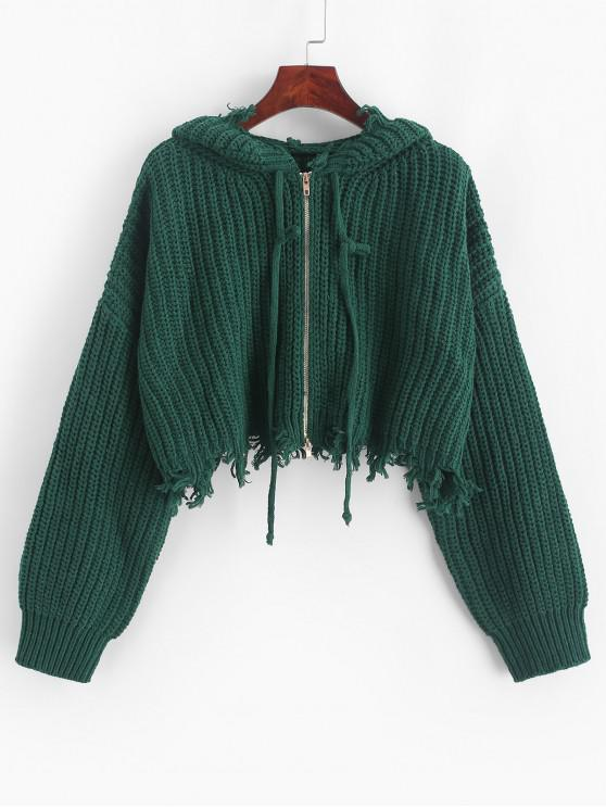 women's ZAFUL Hooded Zip Up Distressed Cropped Cardigan - SEA GREEN M